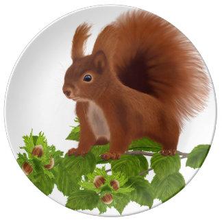 "PetitRose ""Squirrel on Hazelnut Twig"" , Plate"