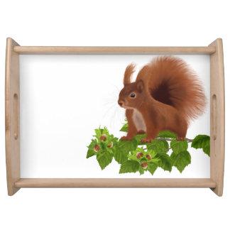 "PetitRose ""Squirrel on Hazelnut Twig"" , Serving Tray"