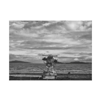 Petone Beach Structure Wrapped Canvas