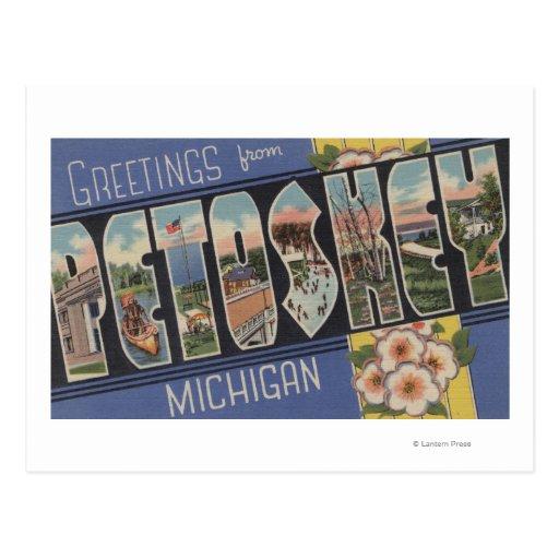 Petoskey, Michigan - escenas grandes de la letra Tarjeta Postal