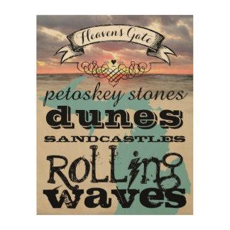 Petoskey Stones Dunes Sandcastles Rolling Waves Wood Print
