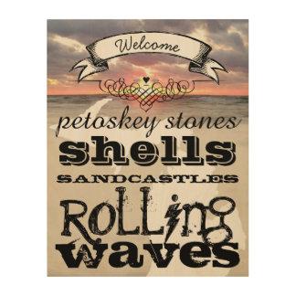 Petoskey Stones Shells Sandcastles Rolling Waves Wood Wall Decor