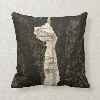 Petra Jordan UNESCO Heritage Site Engraving Throw Pillow