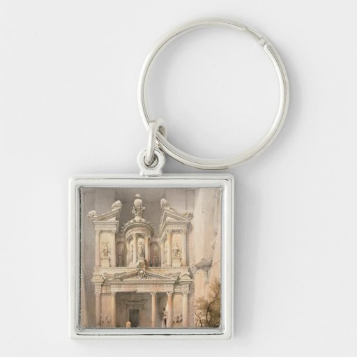 Petra Silver-Colored Square Keychain