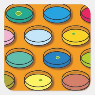 Petri Dishes Multi-coloured Square Sticker