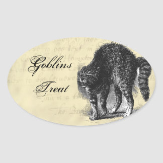 Petrified Cat Halloween Oval Sticker