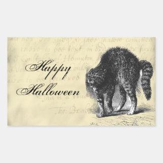 Petrified Cat Halloween Rectangular Sticker