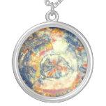 Petrified wood round pendant necklace