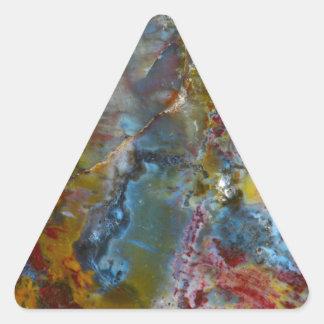 Petrified wood texture triangle sticker