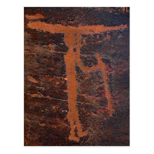 Petroglifo del kajak tarjeta postal