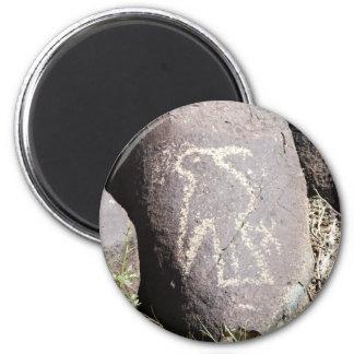 Petroglifo del pájaro imanes para frigoríficos
