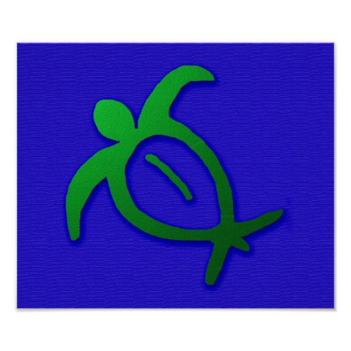 Petroglifo hawaiano de Honu en azul Posters