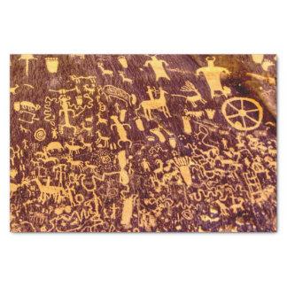 Petroglifo indio americano de la roca del papel de seda pequeño