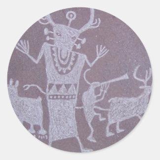 petroglifo pegatina redonda