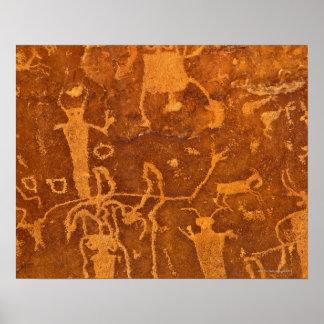 Petroglifos del nativo americano, el panel de póster