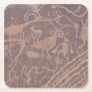 Petroglifos Posavasos De Cartón Cuadrado
