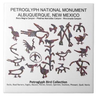 Petroglyph Bird Collection Ceramic Tile