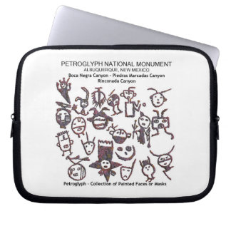 Petroglyph collection of Face and Masks Computer Sleeve
