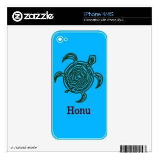 Petroglyph Hawaiian Green Sea Turtle on Ocean Blue Decal For The iPhone 4S