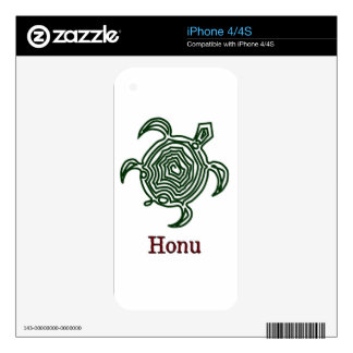 Petroglyph Hawaiian Green Sea Turtle on White iPhone 4S Skins