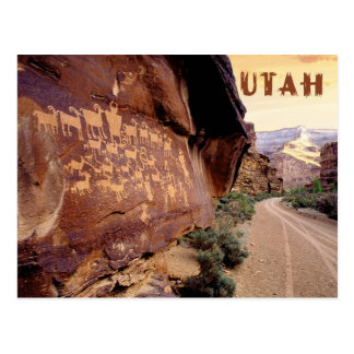 Petroglyph of The Great Hunt Nine Mile Canyon UT Post Card
