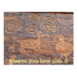 Petroglyphs, Beaver Canyon, Sedo... Postcard