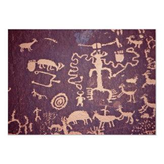 "Petroglyphs, Newspaper Rock, Utah, U.S.A. 5"" X 7"" Invitation Card"