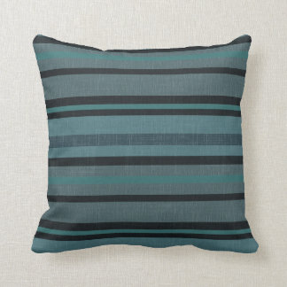 Petrol Blue Gray Linen Look Striped Square Pillow