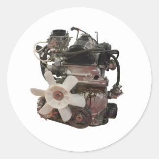 Petrol engine classic round sticker