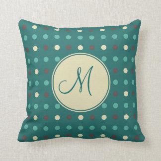 Petrol Green Polka Dots Custom Monogram Throw Pillow