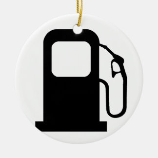 Petrol Pump Double-Sided Ceramic Round Christmas Ornament