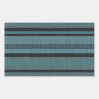 Petrol Teal Blue Gray Linen Look Striped Design Rectangular Sticker