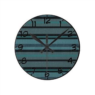 Petrol Teal Blue Gray Linen Look Striped Design Round Clock