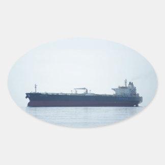Petrolero del petróleo crudo pegatina ovalada