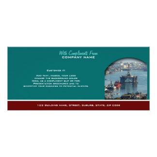 Petroleum customizable oil drilling rig watercolor custom rack cards