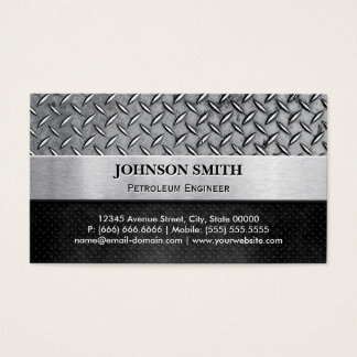 Petroleum Engineer - Diamond Metal Plate Business Card