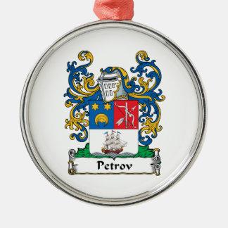 Petrov Family Crest Round Metal Christmas Ornament