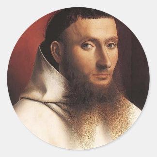 Petrus Christus- Potrait de un cartujo Pegatina Redonda
