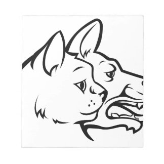 Pets Cat and Dog Faces Icon Concept Notepad