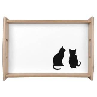 Pets, Cats illustrations silhouettes on white Serving Tray