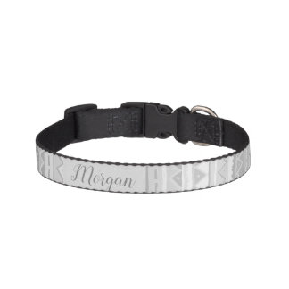 Pet's Cute Gray Tribal Zigzag Pattern with Name Pet Collar