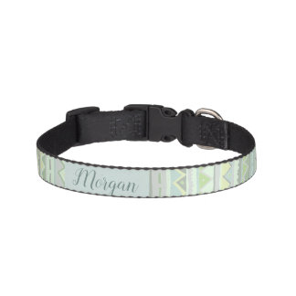 Pet's Cute Green Tribal Zigzag Pattern with Name Pet Collar