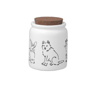 Pets Design: Cat, Bunny, Dog, Hamster sketches Candy Jar