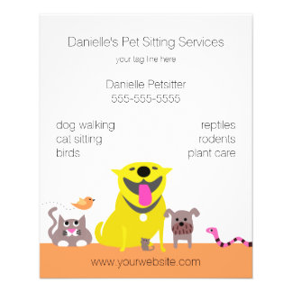 Pets Dog Cat Bird Mouse Fish Snake Personalized Flyer
