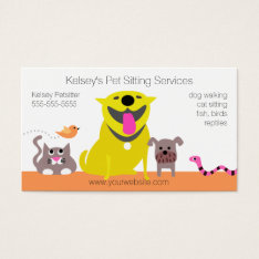 Pets - Dog Cat Bird Snake Business Card at Zazzle
