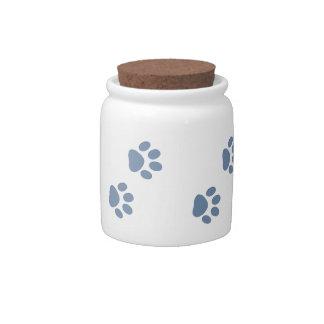 pets dog cat pawprints candy jar