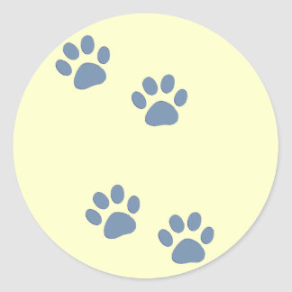 pets dog cat pawprints classic round sticker