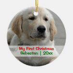 Pet's First Christmas Personalized Photo Template Ceramic Ornament