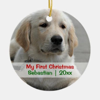 Pet's First Christmas Personalized Photo Template Double-Sided Ceramic Round Christmas Ornament
