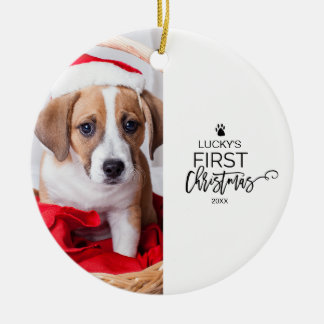 Pet's First Christmas Photo Holiday Ceramic Ornament